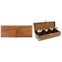 Набор сувенирный для крепких напитков Якорь в дерев. футляре: 4 рюмки 8см